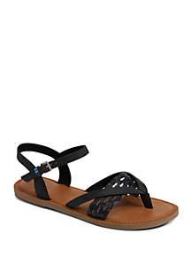 429cbbc7e91 ... TOMS® Black Leather Lexie Sandals