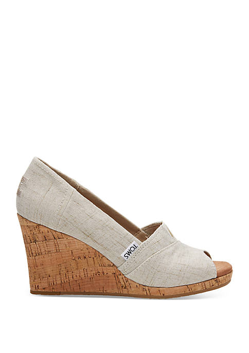 TOMS® Natural Crosshatch Classic Wedge Sandals