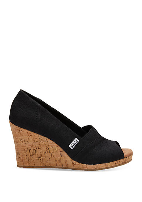 Black Woven Classis Wedges