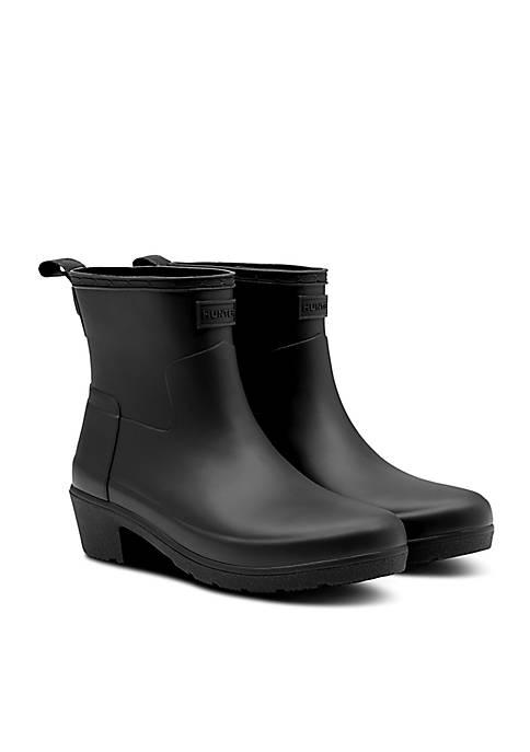 Matte Low Heel Ankle Rain Boot
