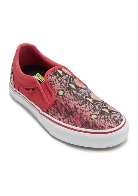 Womens Asher Deluxe Sneakers- Snake Red