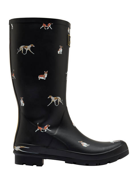 Joules Roll Up Welly Mid Black Dog Rain