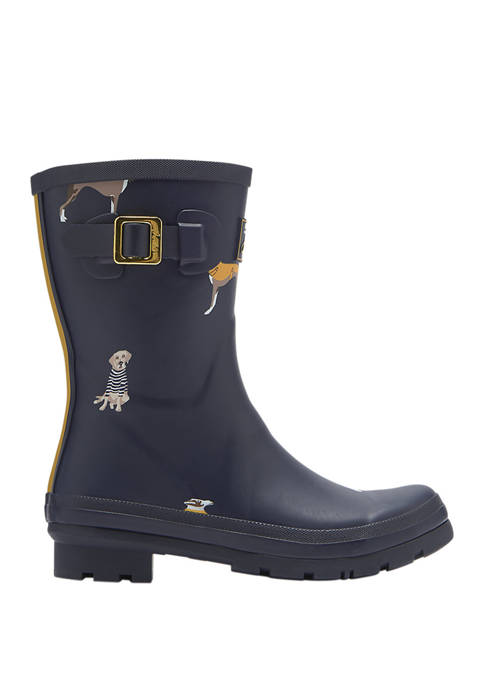 Joules Molly Mid Navy Dog Rain Boots