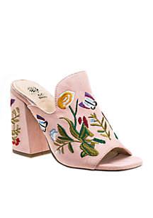 July Floral Print Block Heel Peep Toe Sandal