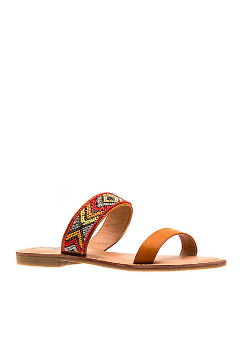 G.C. Shoes Peggy Double Strap Beaded Slide Sandal