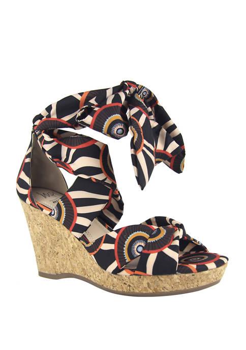Ozara Tie Wedge Sandals