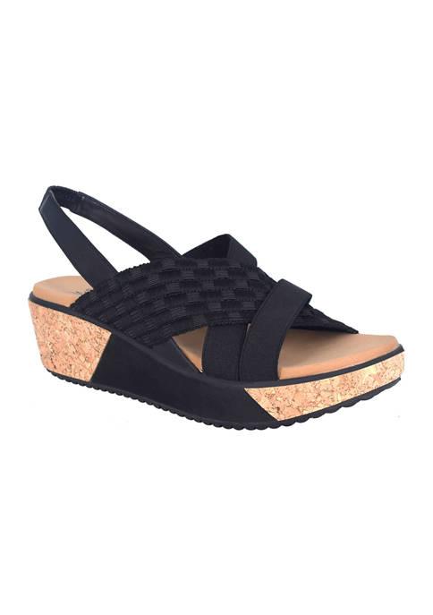 Impo Jolene Stretch Elastic Platform Wedge Sandals
