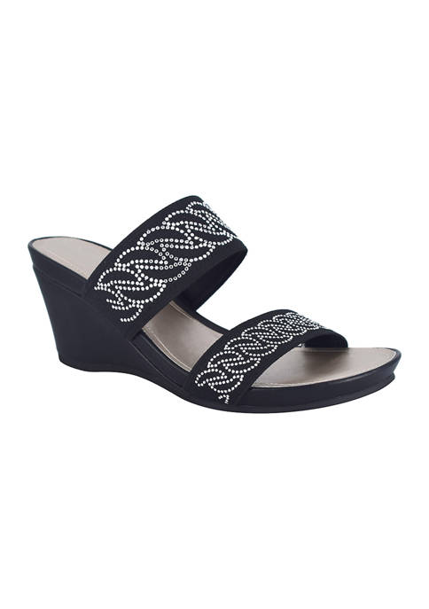 Impo Vernice Stretch Wedge Sandals with Memory Foam