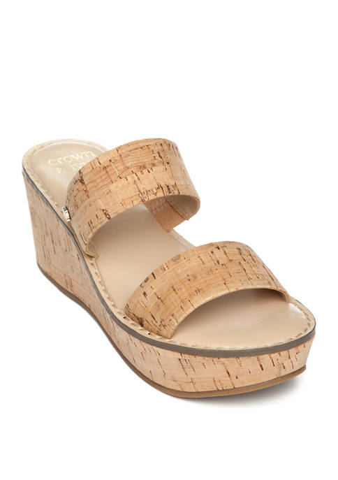 Crown & Ivy™ Caroline Double Band Wedge Sandals