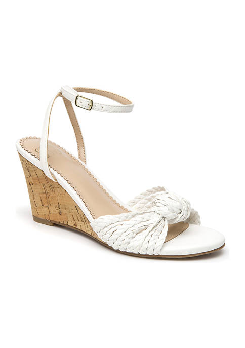 Marea White Knot Wedge Sandals