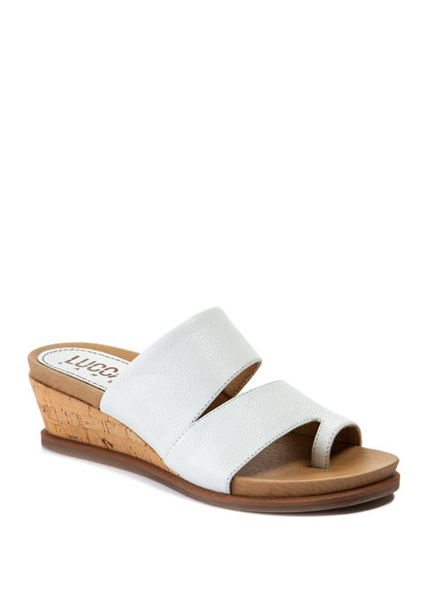LUCCA LANE Whitley Toe Thong Wedge Sandals