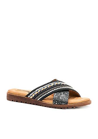 Good Choice Ari Cross Strap Cushioned Flat Slide Sandals GOniIbA