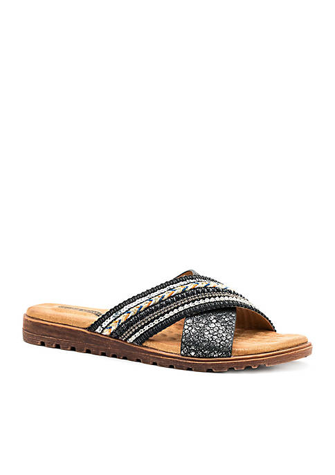 Good Choice Ari Cross Strap Cushioned Flat Slide