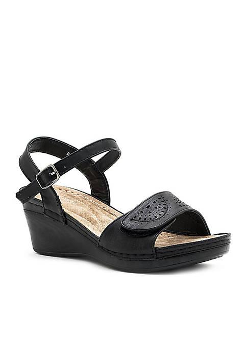 Good Choice Marina Velcro Strap Wedge Slide Sandal