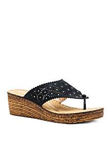 Noleen Stud Accent Wedge Thong Slide Sandals
