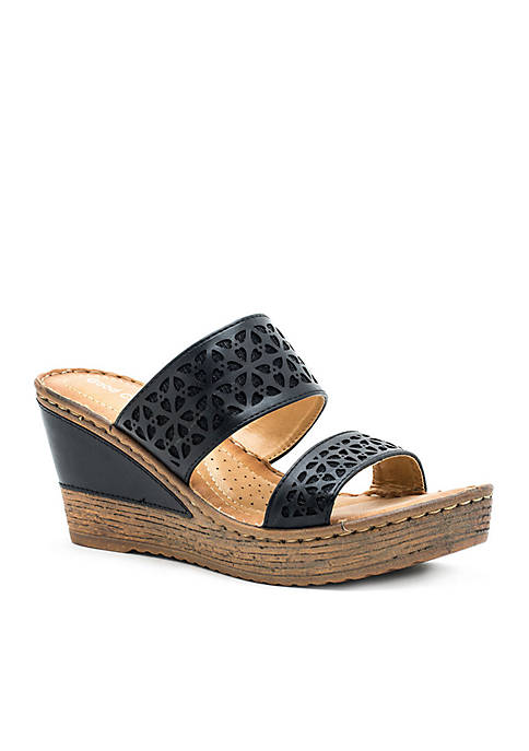 Good Choice Perry Double Strap Wedge Slide Sandals