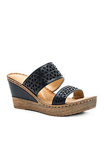 Perry Double Strap Wedge Slide Sandals