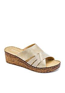 Raquel Glitter Strap Low Wedge Slide Sandals