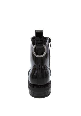 True Craft Zadie Combat Boots Black Patent LxOgN