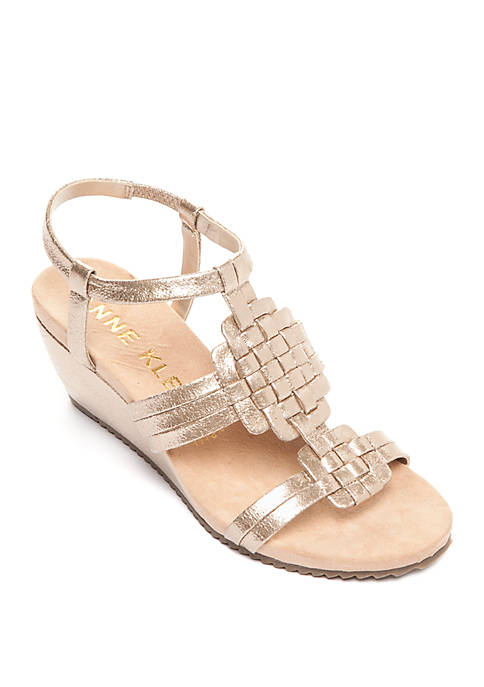Anne Klein Tilly Woven Wedge Sandals