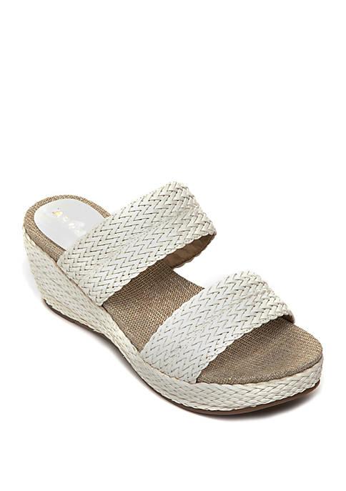 Anne Klein Zala Woven Side Wedge Sandals
