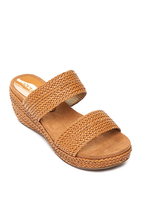 Anne Klein Zala Woven Side Wedge Sandals
