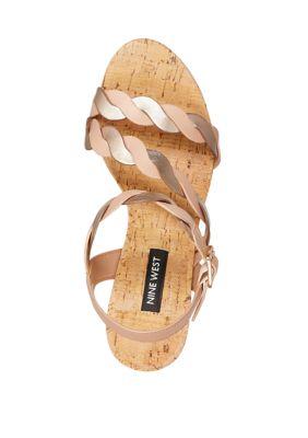 Nine West Brette Cork Wedge Sandals Blush AjyRB