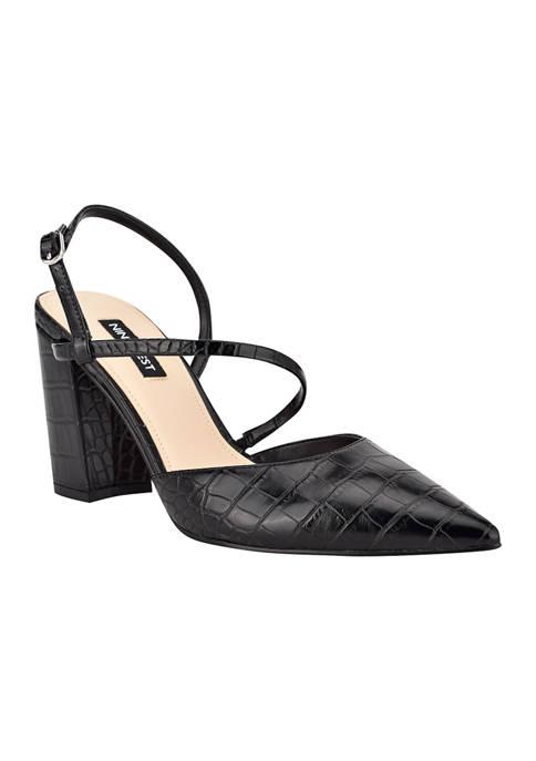 Cache Block Heel Asymmetrical Dress Pumps