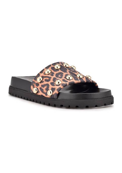 Freely Studded Flat Slide Sandals