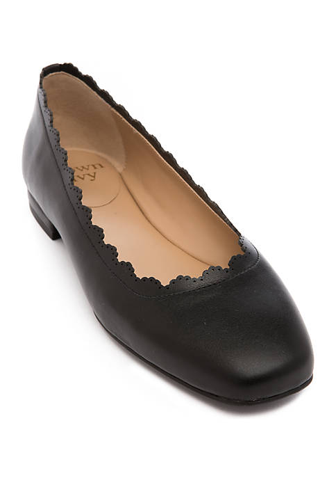 Square Toe Scalloped Top Line Flats
