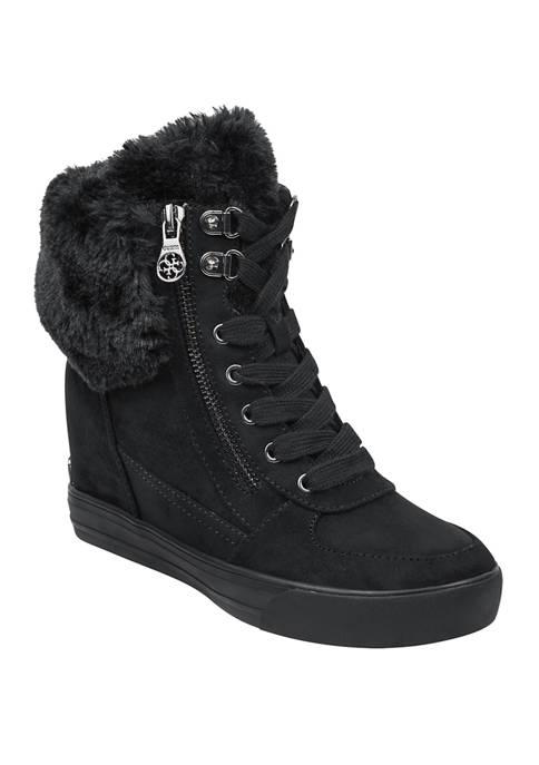 Guess Womens Dustyn Fur Wedge Sneakers