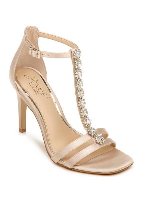 Jewel Badgley Mischka Farida T-Strap Heels