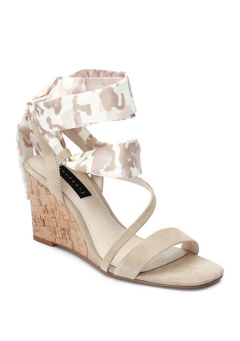 Whimsey Scarf Wedge Sandals
