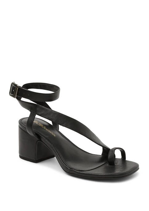 BCBGeneration Asymmetrical Block Heel Leather Sandals