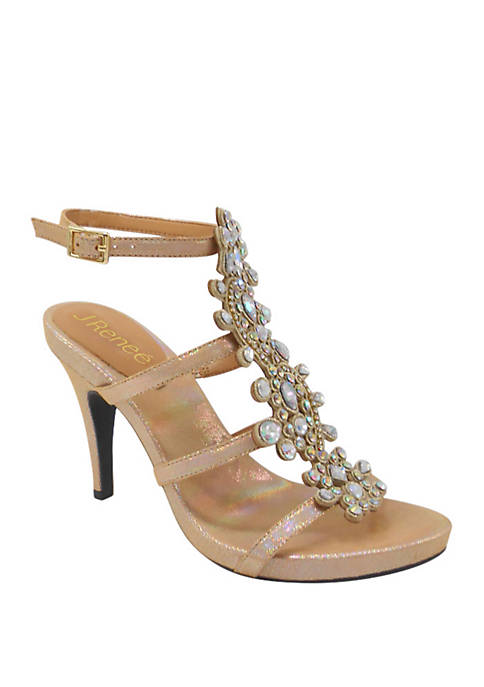 Evadine T-Strap Ornament Heels
