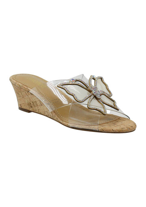 J Reneé Harita Vinyl Low Wedge Sandals