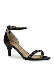 LERIDA Stud Crinkle Patent Mid Heel Ankle Strap Sandal
