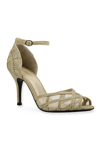 J Reneé MATARO Glitter Fabric And Mesh Ankle Strap Stiletto pump V8ixOt6