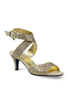 J Reneé SONCINO Rhinestone Satin Mid Heel Crisscross Ankle Strap Sandals