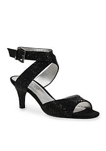 Soncino Rhinestone Criss Cross Ankle Strap Pumps