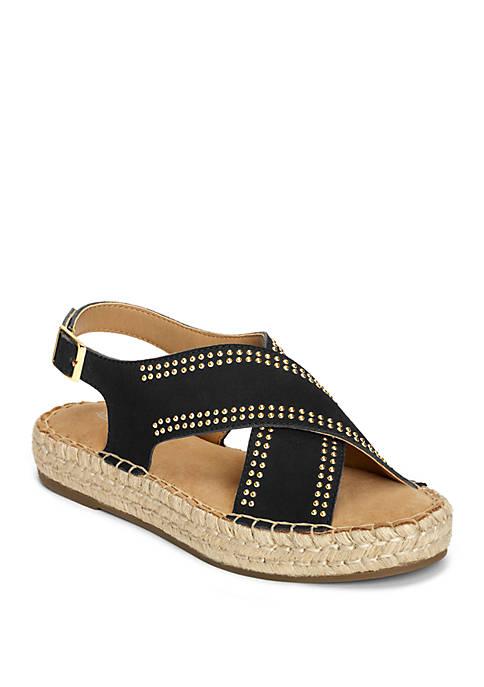 AEROSOLES® Espresso Studded Criss Cross Sandals