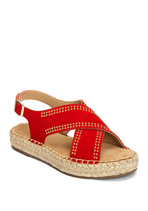 AEROSOLES® Espresso Studded Criss Cross Sandals