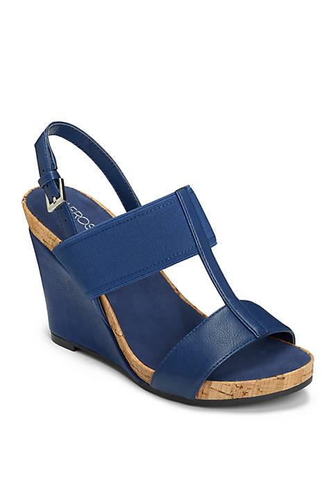 AEROSOLES® Plush Behind Plush T Strap Wedge Sandals