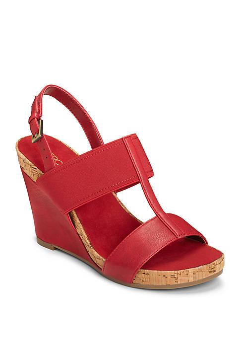Plush Behind Plush T Strap Wedge Sandals