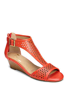 6a7450f44496 AEROSOLES® Sapphire Perforated Strap Wedge Sandals ...