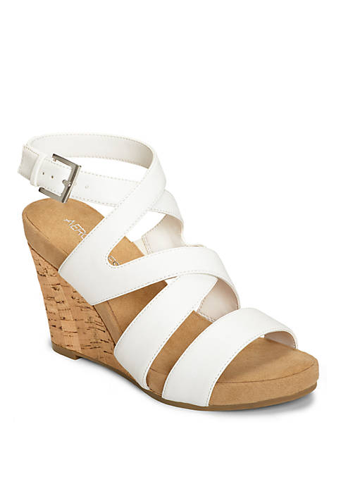 Silverplush Criss Cross Cork Wedge Sandal