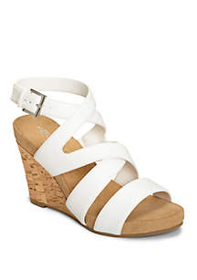 AEROSOLES® Silverplush Criss Cross Cork Wedge Sandal