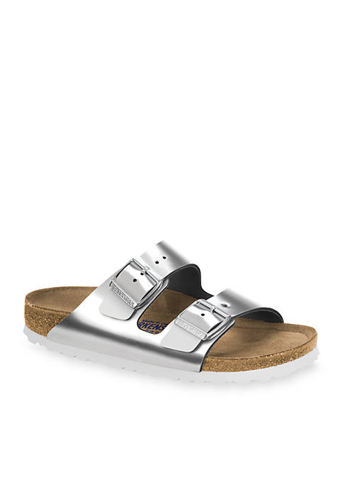 Birkenstock Arizona Metallic Silver Soft Footbed Sandal