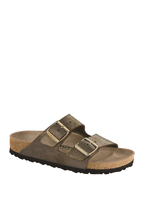 Birkenstock Narrow Arizona Washed Metallic Stone Gold Sandals