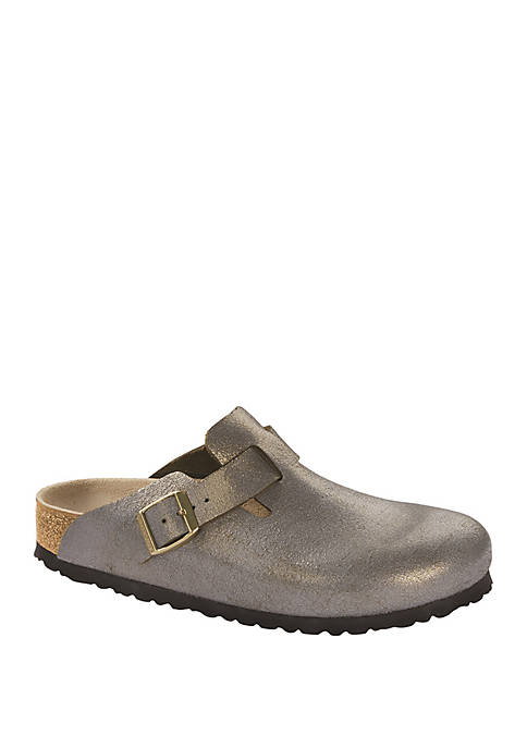 Birkenstock Boston Washed Metallic Stone Gold Clogs